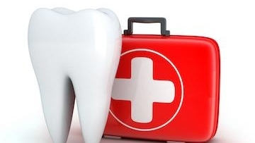 icon of single teeth with plus icon doctor's red color bag